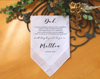 Father of the Groom handkerchief from Groom, You are an incredible example of, custom PRINTED wedding handkerchief, Personalized. PadCop[13]