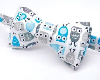 Owl Bow tie, White Owl Bow tie, Men's Owl Bow tie, Kid's Owl Bow tie, Baby Owl Bow tie, Birthday Bow tie, Owl Bowtie, First Birthday Bow tie