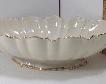 Cream White fine china Lenox bowl with 24 kt hand painted gold trim