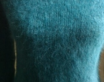 Blue green angora mohair sweater