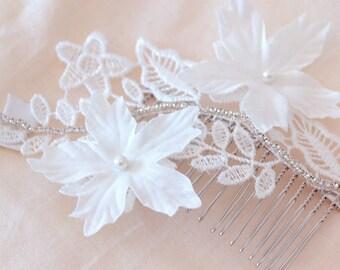 Wedding Hair Piece, Lace Hair Comb, Lace Headpiece Beaded Lace Hair piece, Hair comb boho,Lace Bridal headpiece, Vintage bridal comb
