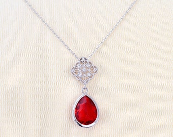 Bridal necklace - Amandine - red cz bridal necklace - Red bridal necklace - wedding-red jewelry wedding jewelry - Bridesmaid gift