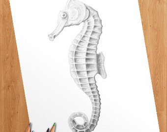 Grayscale Coloring Page – Seahorse – Instant Download Printable Coloring Page For Adults