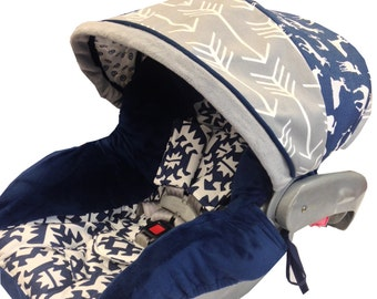 Navy Woodland Infant Car Seat Cover