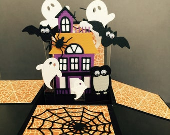 Halloween pop up card - Gouly pop up box card - 3D halloween card in a box - haunted house card - pumpkins and ghosts