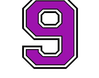 Iron on purple number 9 for T shirt transfer, instant download