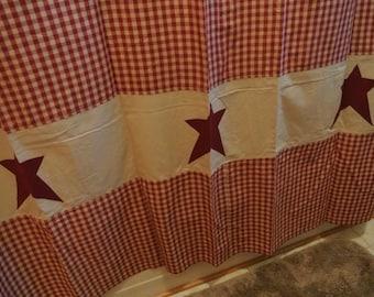 Cotton Check Shower Curtain w/ Barnstars