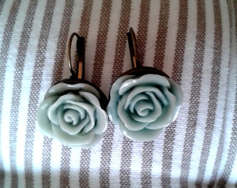 SALE Cabochon Rose Earrings