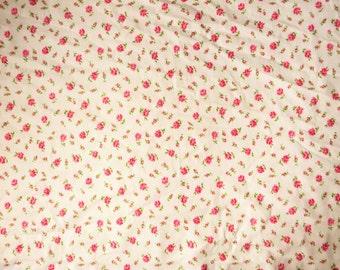 "Vintage pink rosebud cotton fabric reclaimed,  49.5 x 56"" (4)"