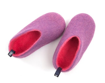 Girls felted slippers w. natural rubber anti skid sole pink & lilac, Cool Girls Slippers soft sole wool slippers for kids, warm house shoes