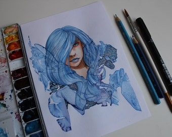Original drawing, Blue Girl, 5.7x8.2inches(A5)