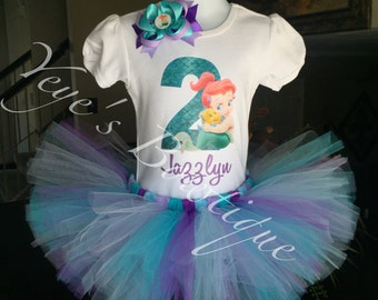 Baby Ariel Second Birthday Tutu Outfit | Baby Ariel 2nd Birthday Outfit | Little Mermaid Birthday Outfit