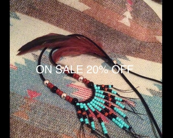 ON SALE 20% OFF !!  Southwest Style, Native American Inspired, Feather and Seed Bead Necklace
