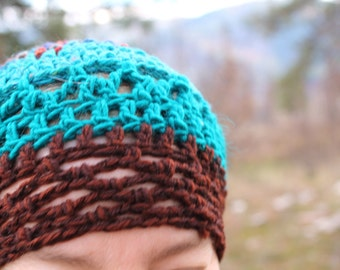 Handmade Hat shades of blue and brown, crocheted cap