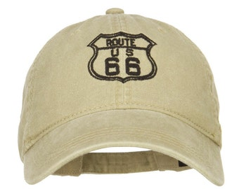 US Route 66 Embroidered Washed Cap