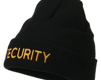 Security Embroidered Long Knitted Beanie
