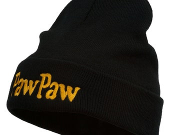 PawPaw Embroidered Long Cuff Beanie