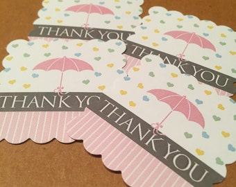 Baby Shower Favor Tags - Umbrella - Thank you - Set of 20 - Pink or Blue