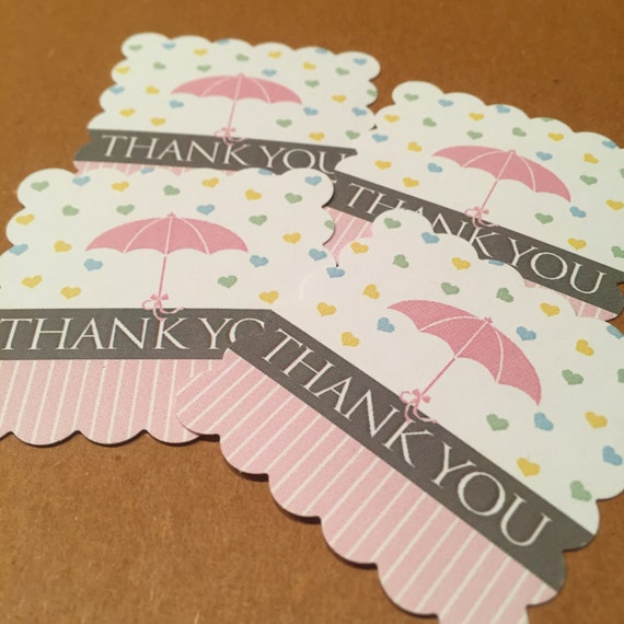 Baby Shower Favors Umbrella ~ Baby shower favor tags umbrella thank you set of