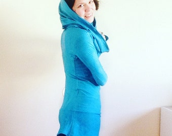 Your choice dyed Hemp hooded dress