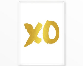 xo Print, Gold, foil, printable, art, digital, Typography, Poster, Vintage, Grunge,Inspirational Home Decor, Screenprint, wall art, gift