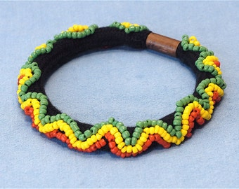 Rastafarian- Beaded soft bracelet