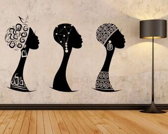 African women wall decal, African woman profile wall vinyl, Africa wall decal, African silhouette decal, Black woman wall art, Ethnic 140