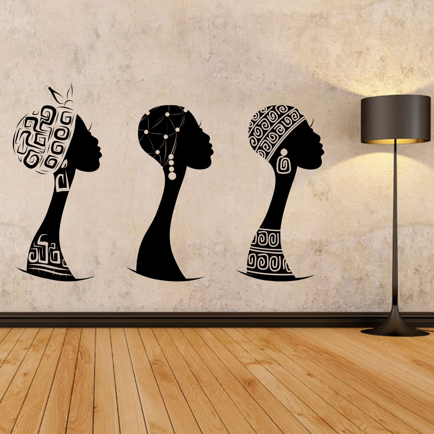 African women wall decal, African woman profile wall vinyl, Africa wall  decal, African silhouette decal, Black woman wall art, Ethnic 140