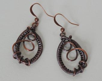 Woven Copper Wire Earrings, Antiqued Wire Wrapped Earrings, Copper Dangle Earrings