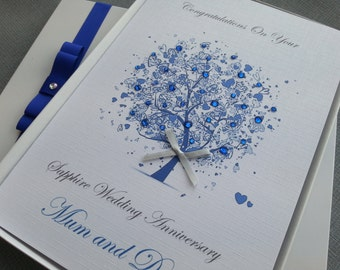 Wedding Anniversary Card Handmade Personalised Ruby Emerald Silver Diamond Sapphire Golden Parents Grandparents Friends Any Names Keepsake