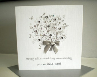Silver Diamond Sapphire Wedding Anniversary Card Handmade Personalised Parents Grandparents