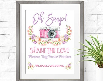 Wedding Hashtag Sign - Pink Floral - Printable Wedding Sign - FL03