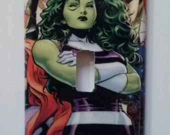 She-Hulk Light Switch Cover Switchplate Decoupage Marvel Comic Book