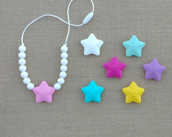 Toddler Teething Necklace, Chew Necklace, Toddler Silicone Necklace, Necklace fo Girls, Chewable Jewelry, Star Pendant Necklace