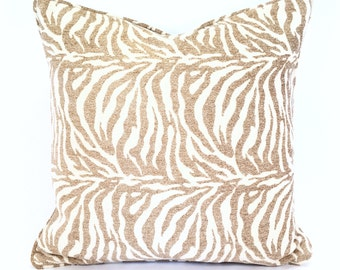 Heavy & Soft Chenille Pillow Cover in a Sand on Cream Animal Print Pattern