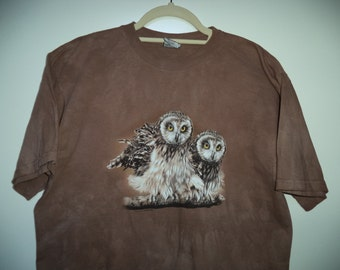 Hippie tie dye snowy owls  t-shirt// 90s grunge animal nature hipster unisex tee// Vintage Harlequin USA// Size men's small and women's S M