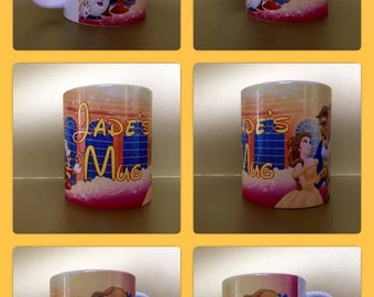 beauty and the beast personalised mug cup belle chip gift precent disney any name 110z