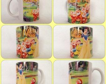 personalised snow white 7 dwarfs doc grumpy happy dopey sleepy sneezy grumpy disney princess mug cup gift precent