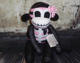 Zombie goth skeleton sock monkey 035