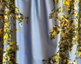 Windows Curtains, sky blue, birch with leaves, Cotton natural