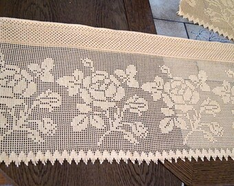Yellow cotton lace window valance. Vintage Curtain. Window Topper, Drapery, Shabby Chic,Floral Country window lace. Retro window dressing