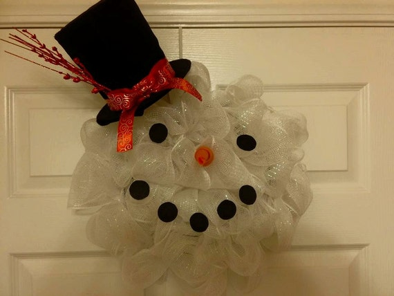 Snowman Head Mesh Wreaths