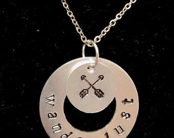 Hand stamped wanderlust necklace with hand stamped double arrow charm