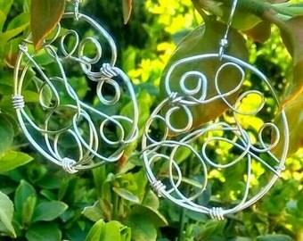Hoop earrings, silver earrings, wire wrapped jewelry, handmade jewelry, boho jewelry, environmentally friendly shop, gift