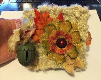 "Homemade Fall themed Mini Scrapbook Album 4"" x 4"""