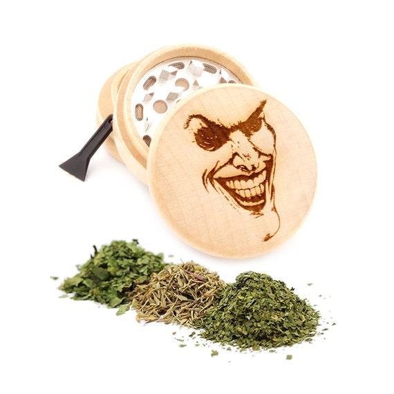 Joker Face Engraved Premium Natural Wooden Grinder Item # PW91316-33