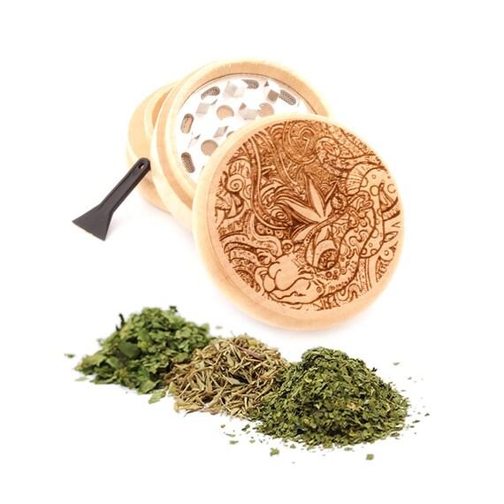 Psychedelic Leaf Design Engraved Premium Natural Wooden Grinder Item # PW91316-39
