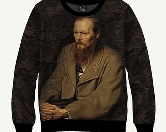Fyodor Dostoyevsky, Russian Writer - Men's Women's Sweatshirt   Sweater - XS, S, M, L, XL, 2XL, 3XL, 4XL, 5XL