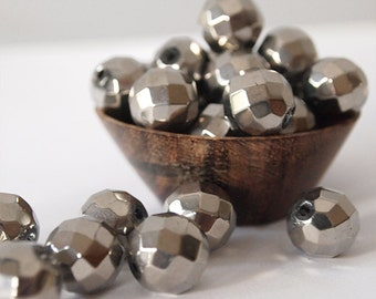 10 Faceted Glass Round Opaque Beads Silver Platinum Coated Size 12mm