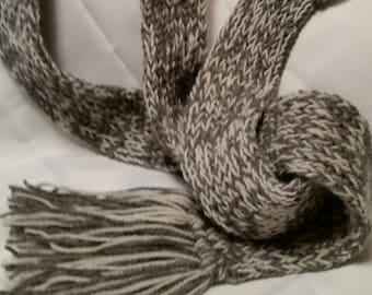 Alpaca skinny loom knitted scarf